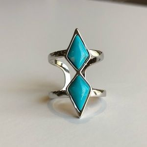 Jewelry - Natural Turquoise & Silver Double Band Open Ring